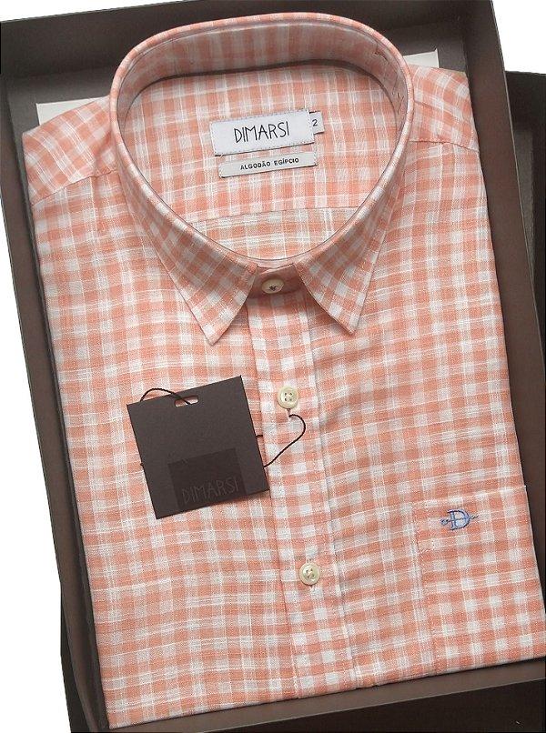 Camisa Dimarsi - Com Bolso - Manga Curta - Algodão Egípcio - Ref. 9153 Xadrez Salmão