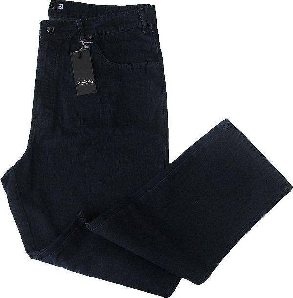 Calça Jeans Masculina Pierre Cardin Reta Tradicional (Cintura Alta) - Ref. 487P163 PLUS SIZE (COR AZULÃO) - Algodão/Poliester/Elastano (Jeans Macio)
