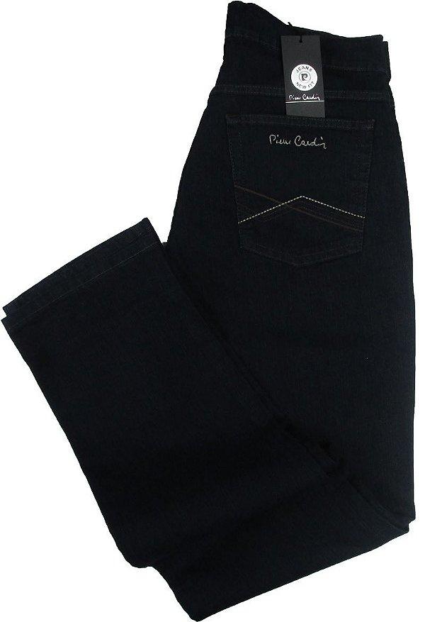 Calça Jeans Masculina Pierre Cardin Reta (CINTURA MÉDIA) Ref. 457P090 (AZULÃO) Algodão / Poliester / Elastano (Jeans Fino e Macio)