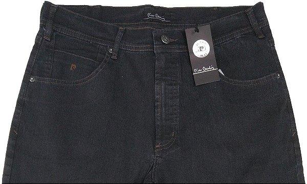 Calça Jeans Masculina Pierre Cardin Reta - Cintura Média - Ref. 457P015 Grafite - Algodão / Poliester / Elastano - Jeans Macio