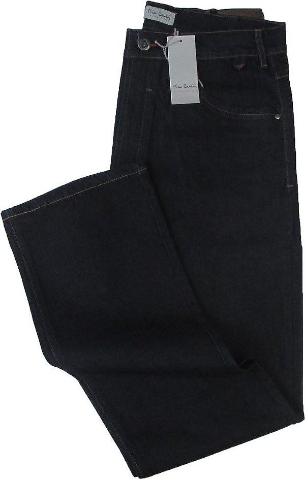 Calça Jeans Masculina Pierre Cardin Reta (Cintura Alta) - Ref. 467P021 (AZULÃO) - Algodão / Poliester / Elastano (Jeans Fino e Macio)