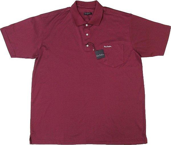 Camisa Polo Pierre Cardin (PLUS SIZE) Com Bolso Pequeno - FIO DE ESCÓCIA - 100% Algodão - Ref. 12711 VINHO