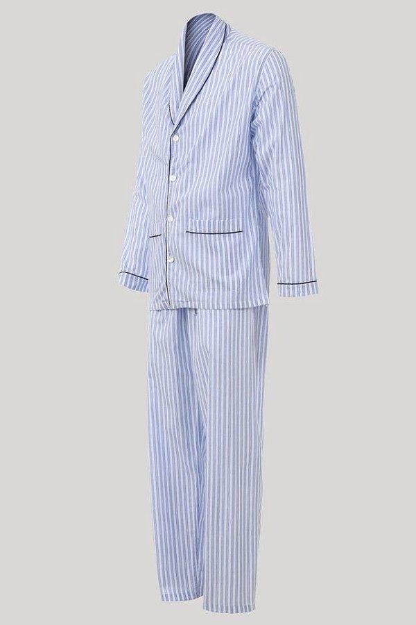 Pijama Presidente  Longo Listrado AZUL - Tricoline / 100% Algodão