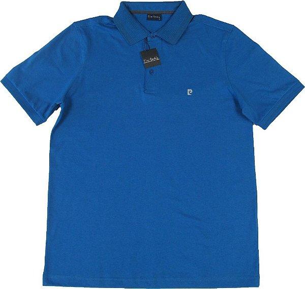 Camisa Polo Pierre Cardin (PLUS SIZE) SEM BOLSO - 100% Algodão - Ref. 41941 AZUL ROYAL