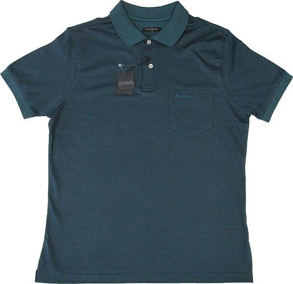 Camisa Polo Pierre Cardin (COM BOLSO PEQUENO) - FIO DE ESCÓCIA - 100% Algodão - Ref. 15530 VERDE