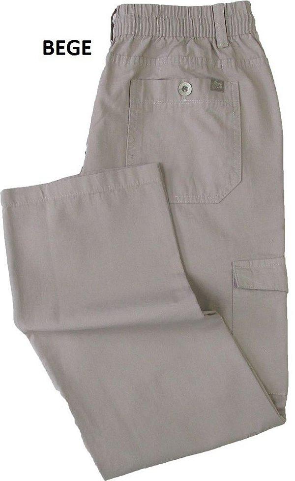Calça de Elástico Stargriff - Com Zipper e Botão - Contém bolso lateral cargo - 100% Algodão - Ref. 832 Bege