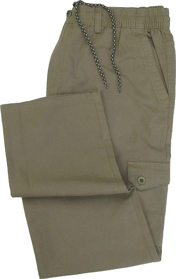 Calça de Elástico Stargriff - Com Zipper e Botão - Contém bolso lateral cargo - 100% Algodão - Ref. 832 Caqui