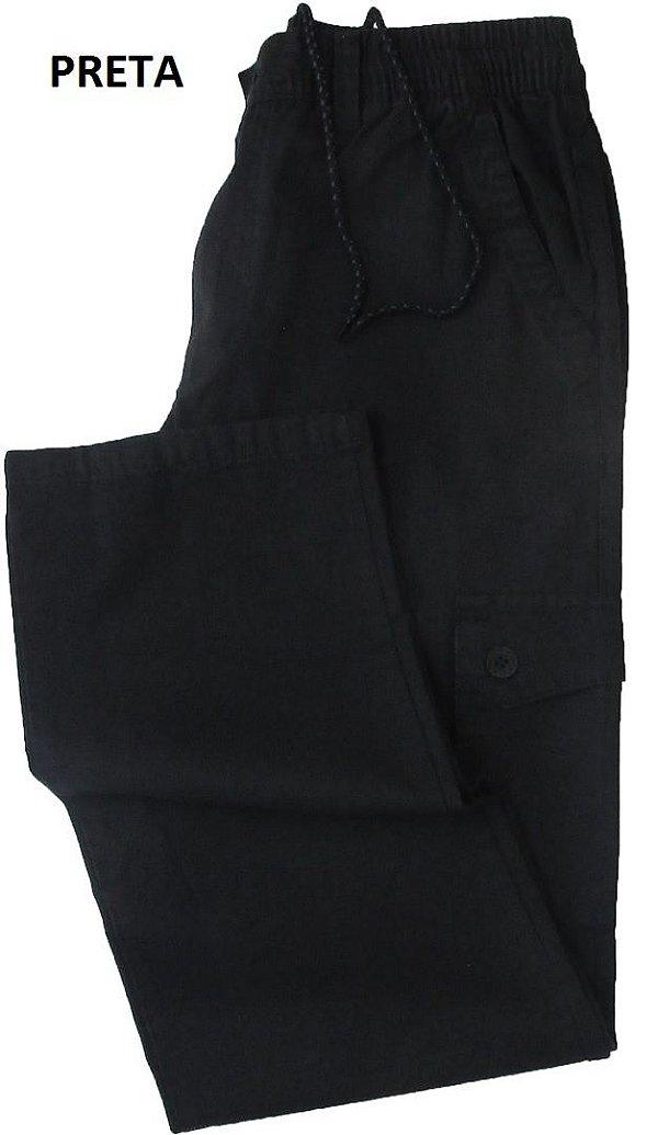Calça de Elástico Stargriff - Com Zipper e Botão - Contém bolso lateral cargo - 100% Algodão - Ref. 832 Preta