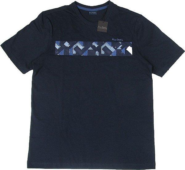 Camiseta Gola Careca Pierre Cardin  - 100% Algodão - Ref. 42475 Marinho