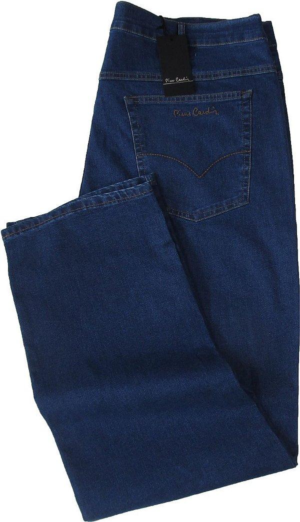 Calça Jeans Masculina Pierre Cardin Reta (Cintura Alta) - Ref. 487P243 PLUS SiZE (DELAVE) - Algodão / Poliester / Elastano (Jeans Fino e Macio)