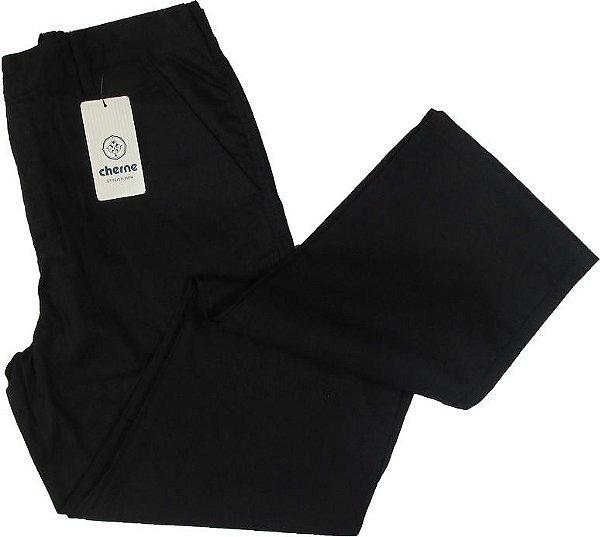 Calça Meio Elástico Cherne - 100% Algodão - Ref. 4156 Preta