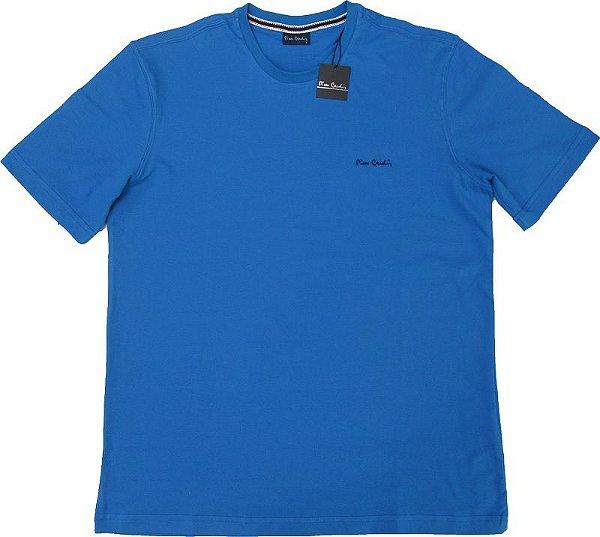 Camiseta Gola Careca Pierre Cardin  - 100% Algodão - Ref. 40145 Azul
