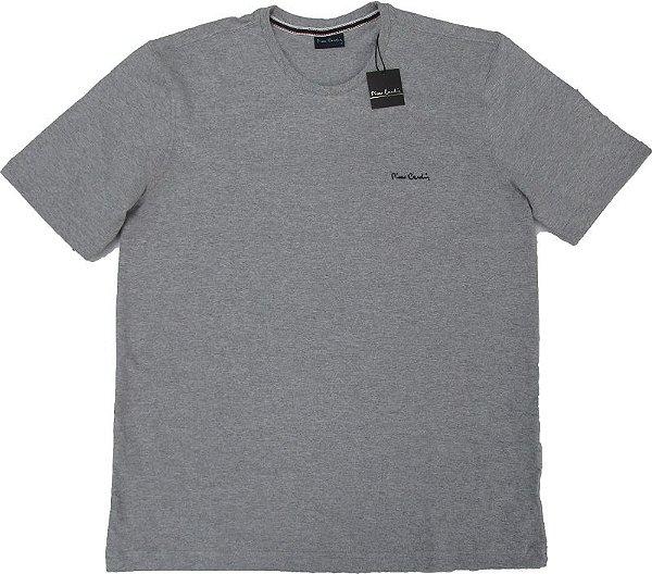 Camiseta Gola Careca Pierre Cardin  - 88% Algodão / 12% Poliester - Ref. 40145 Cinza Mescla
