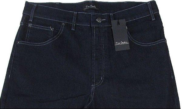 Calça Jeans Masculina Pierre Cardin Reta (Cintura Alta) - Ref. 467P088 (AZUL ESCURO) - Algodão / Poliester / Elastano (Jeans Fino e Macio)