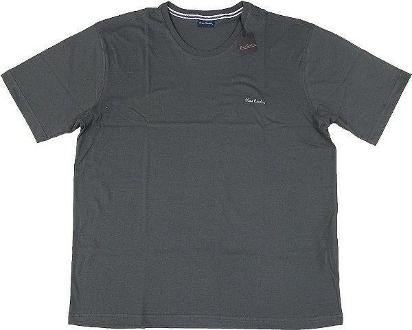 Camiseta Gola Careca Pierre Cardin (PLUS SIZE) - 100% Algodão - Ref. 40146 Chumbo