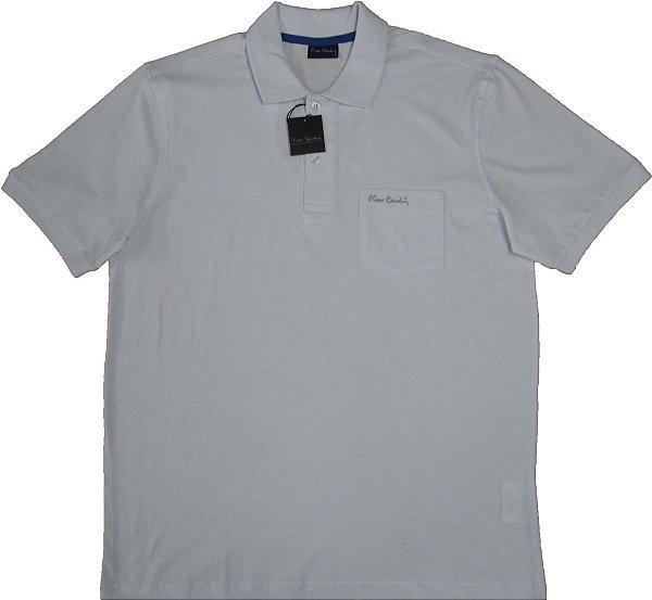 Camisa Polo Pierre Cardin (Com Bolso Pequeno) - 100% Algodão - Ref. 40150 BRANCA