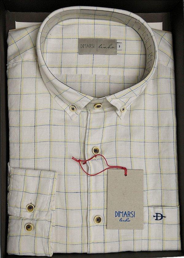 Camisa Dimarsi Com Bolso - Manga Longa - 50% Algodão / 50% Linho - Ref. 0896 - Xadrez - Branco / Amarelo