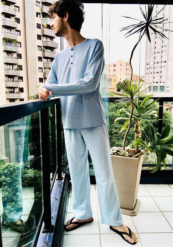 Pijama Longo Masculino Flanelado - Bello Sono - Ref. 301 - Poliester / Viscose