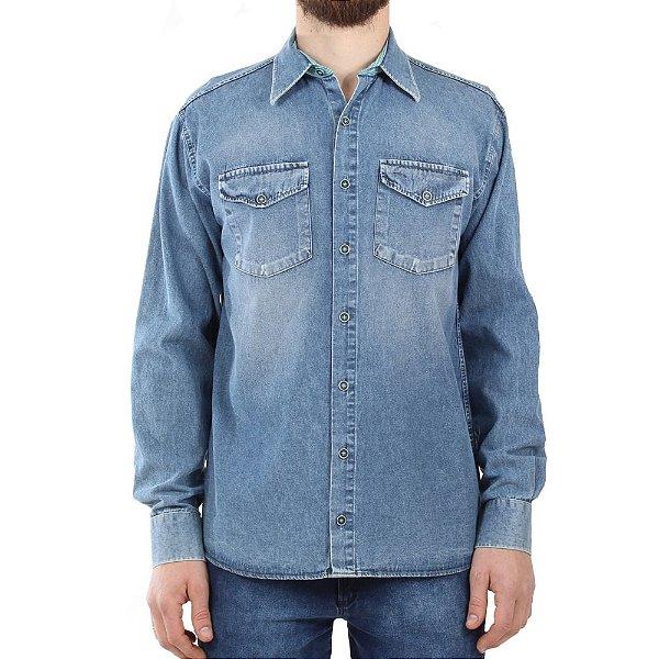 Camisa Jeans Mepase Manga Longa Com 2 Bolsos - Algodão / Poliester - Ref. 1747ML