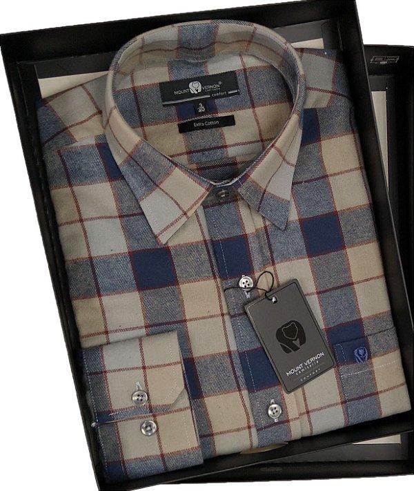 Camisa Fina De Flanela Com Bolso Manga Longa - Mount Vernon - 100% Algodão - Ref. C3309420AZ