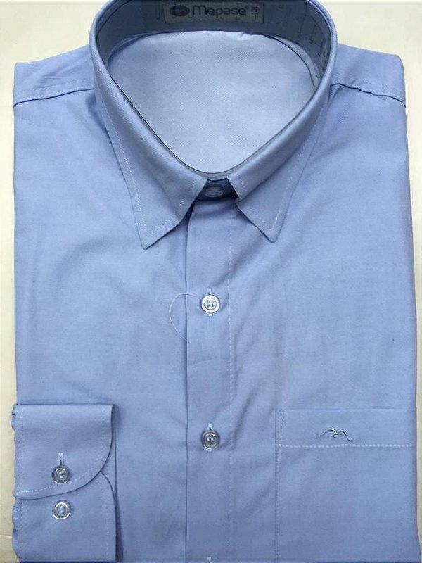 Camisa Manga Longa Passa Fácil Masculina Mepase - Algodão / Poliester - REF 5219 Azul