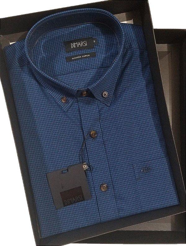 Camisa Dimarsi Com Bolso - Manga Curta - Algodão EgÍpcio - Ref. 8645 Azul