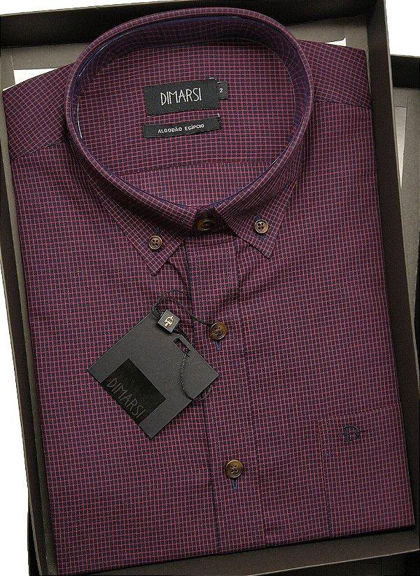 Camisa Dimarsi Com Bolso - Manga Curta - Algodão EgÍpcio - Ref. 8645 Vinho
