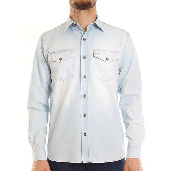 Camisa Jeans Mepase Manga Longa Com 2 Bolsos - Algodão / Poliester - Ref. 5252ML