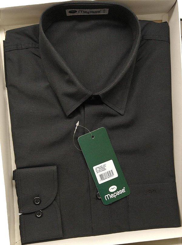 Camisa Manga Longa Passa Fácil Masculina Mepase - Algodão / Poliester - REF 5217 Preta