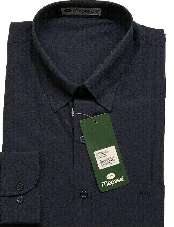 Camisa Manga Longa Passa Fácil Masculina Mepase - Algodão / Poliester - REF 5217 Marinho