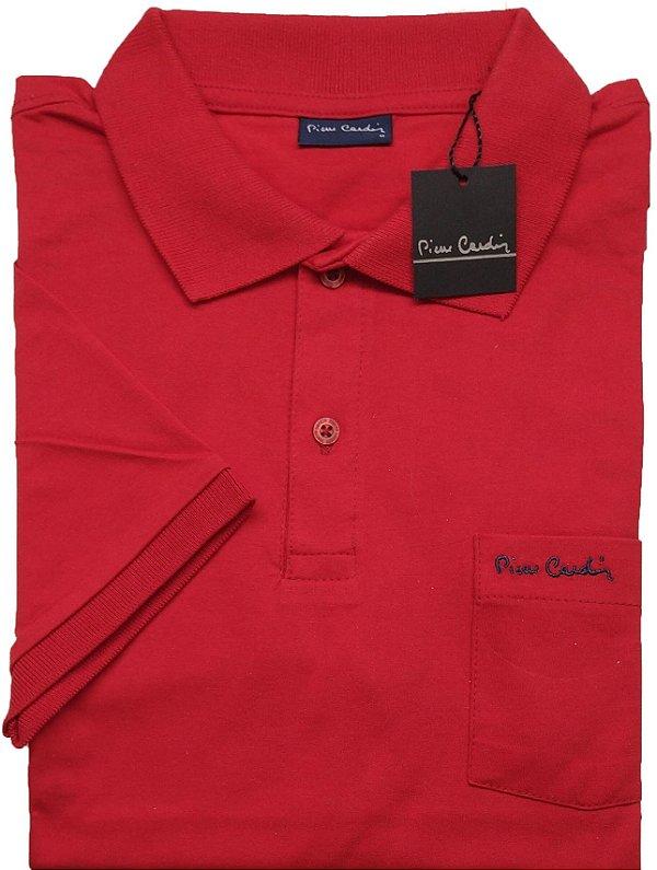 Camisa Polo Pierre Cardin Com Bolso Pequeno e Manga Curta Com Punho - 100% Algodão - Ref. 40152 Vermelha