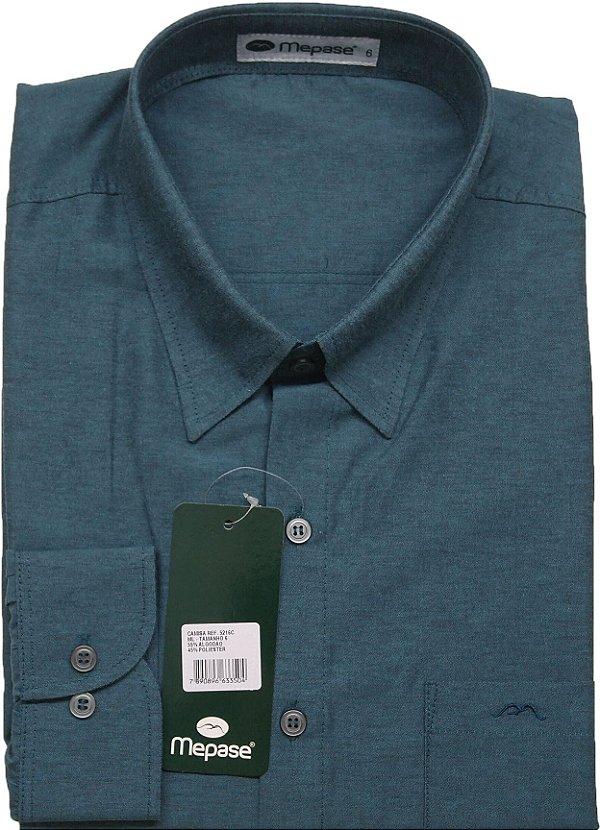 Camisa Manga Longa Passa Fácil Masculina Mepase - Algodão / Poliester - REF 5216 Verde