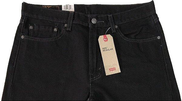 Calça De Sarja Levis Masculina Corte Tradicional - Ref. 505-0260 Preta Plus Size - 100% Algodão