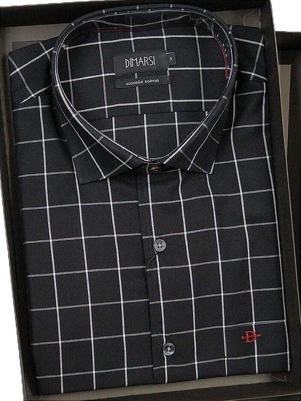 Camisa Dimarsi - Com Bolso - Manga Curta - Algodão Egípcio - Ref. 8009 Xadrez Preta