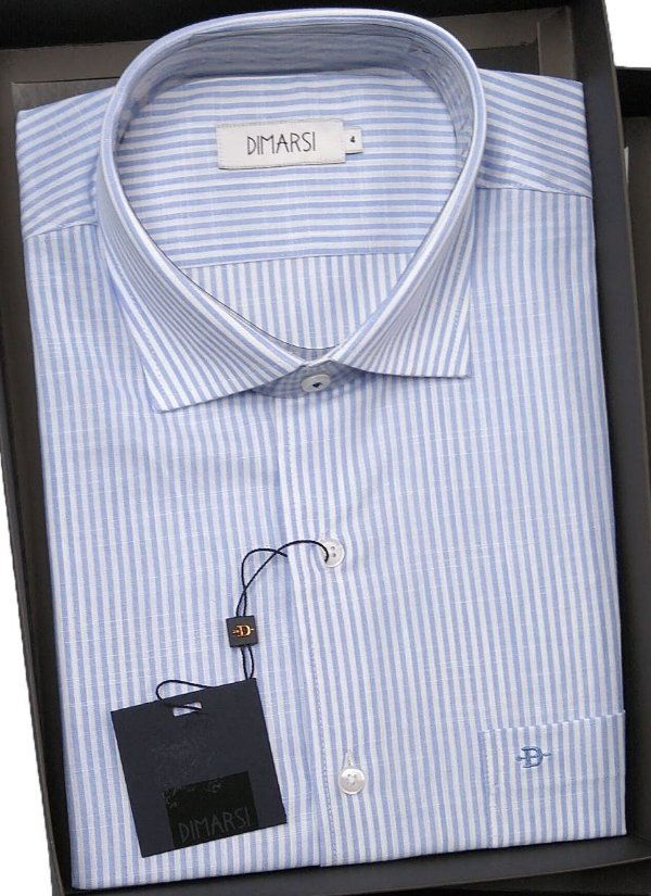 Camisa Dimarsi - Com Bolso - Manga Curta - 100% Algodão - Ref. 8537 Azul Listrada