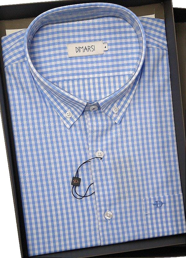 Camisa Dimarsi Com Bolso - Manga Curta - 100% Algodão - Ref. 8465 Xadrez Azul