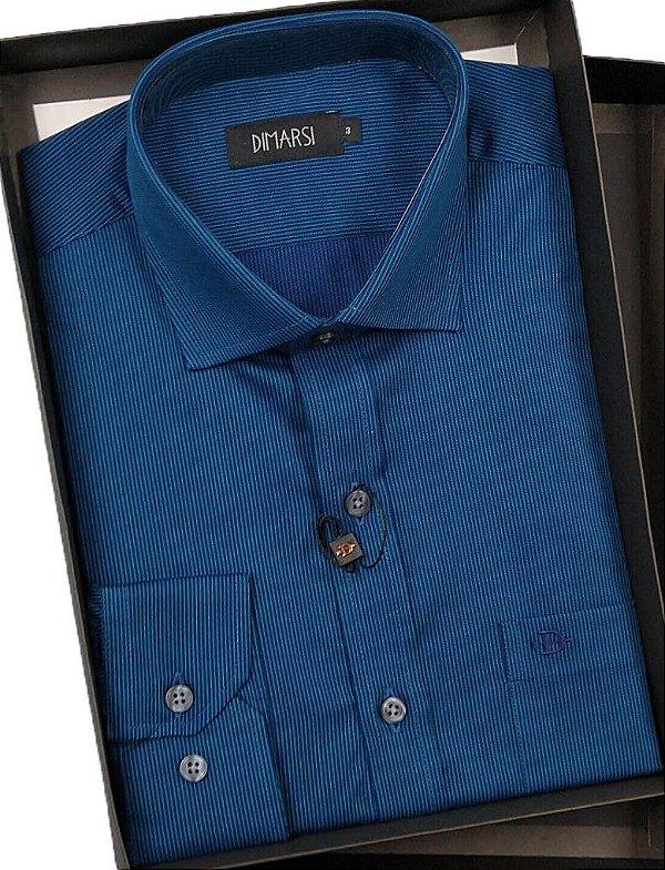Camisa Dimarsi Com Bolso - Manga Longa - 100% Algodão - Ref. 8252 Azul