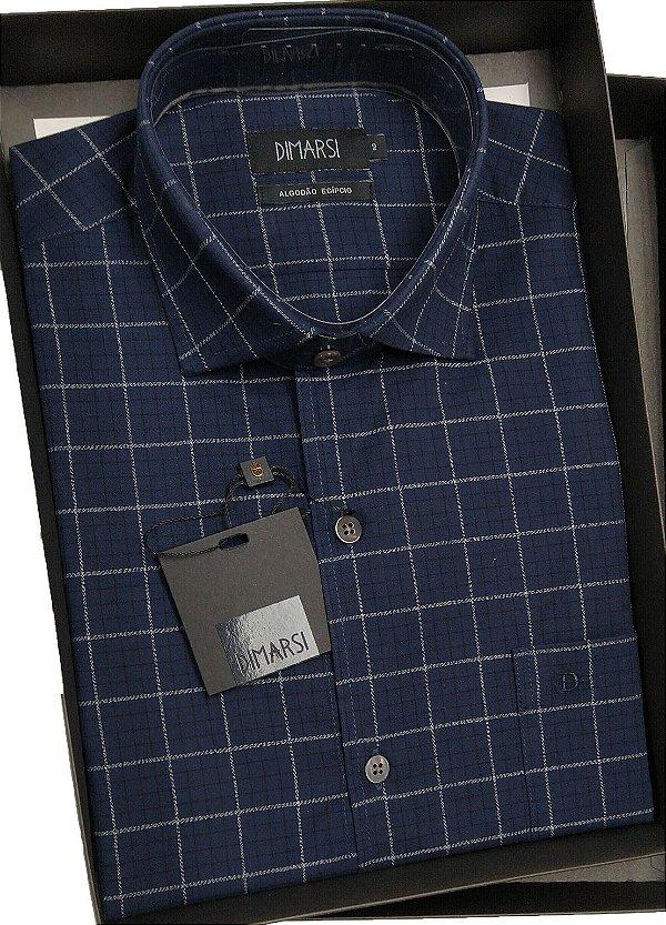 Camisa Dimarsi - Com Bolso - Manga Curta - Algodão Egípcio - Ref. 8677 Xadrez Marinho