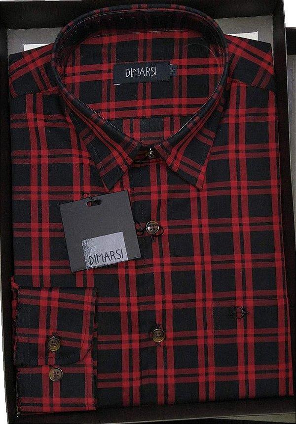 Camisa Dimarsi - Com Bolso - Manga Longa - 100% Algodão - Ref. 8756 Xadrez Vermelha