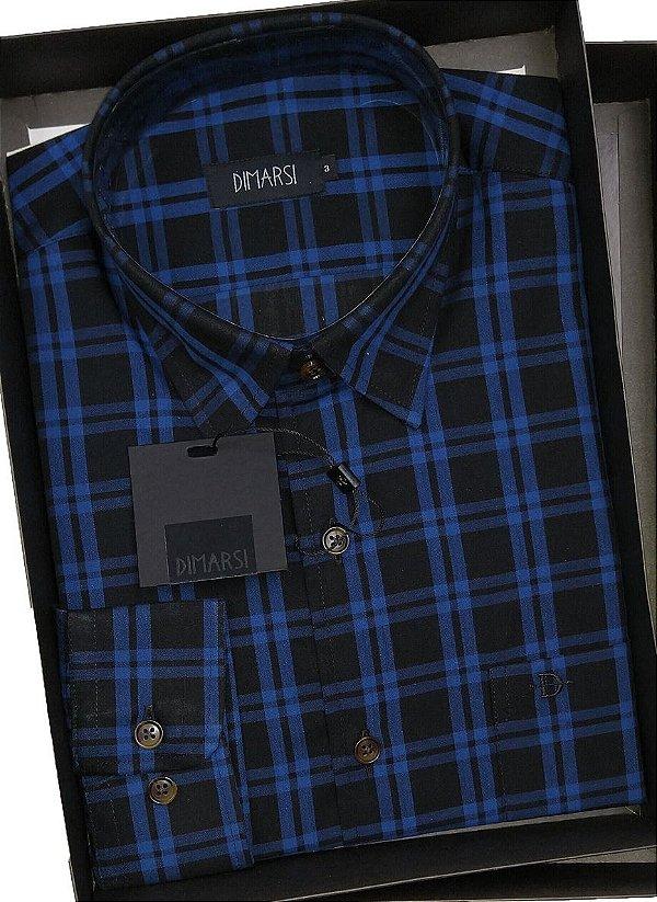 Camisa Dimarsi - Com Bolso - Manga Longa - 100% Algodão - Ref. 8756 Xadrez Azui