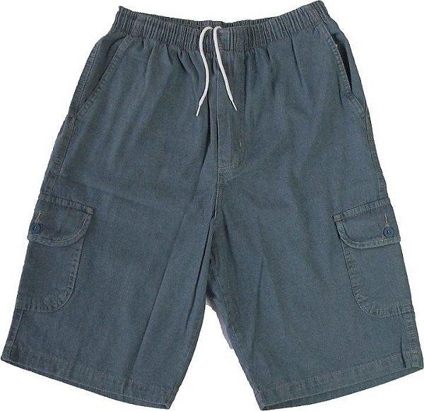 Bermuda Jeans Fino Com Elástico - Stargriff - Com Zipper e Bolso Lateral Cargo - Ref.  536 Delave
