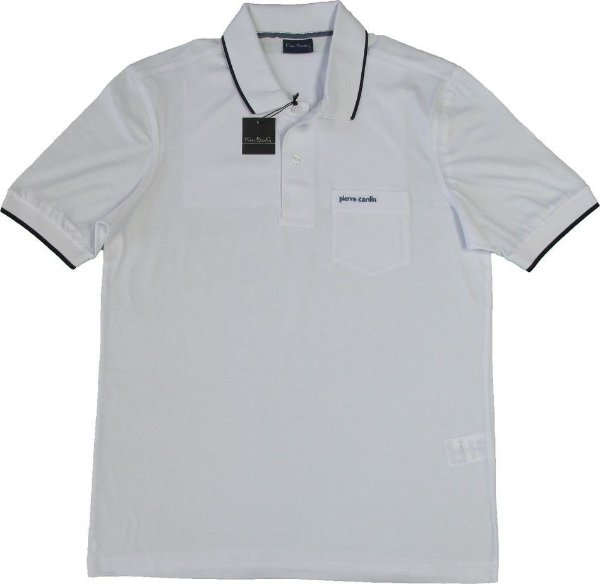 Camisa Polo Pierre Cardin Com Bolso - 100% Algodão - Ref. 40160 Branca