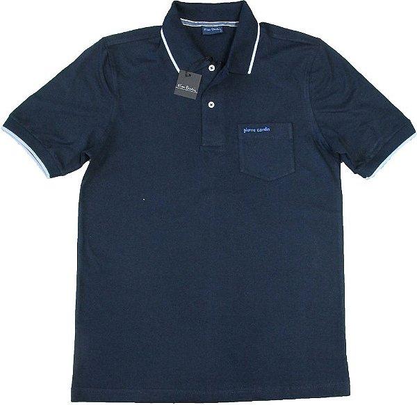 Camisa Polo Pierre Cardin Com Bolso - 100% Algodão - Ref. 40160 Marinho