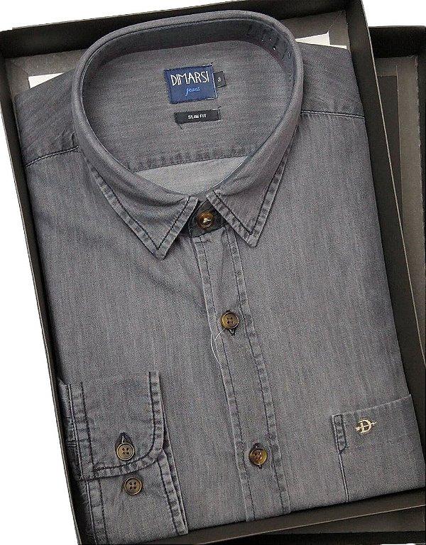 Camisa Jeans Slim Fit Dimarsi - Com Bolso - Manga Longa - 100% Algodão - Ref. 8726 Jeans