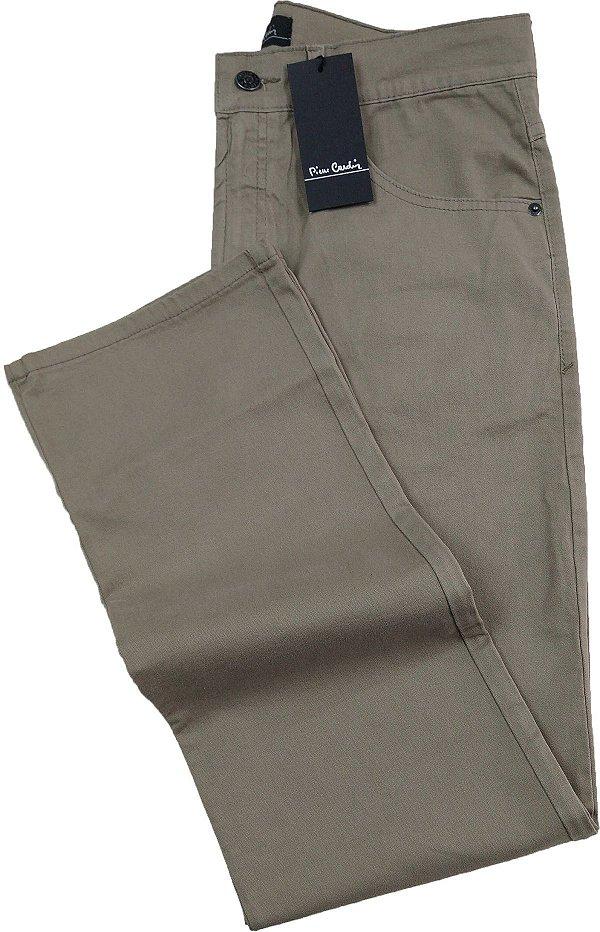 Calça de Sarja Masculina Pierre Cardin Reta (Cintura Alta) - Ref. 477P054 (CAQUI) - 98 % Algodão / 2% Elastano