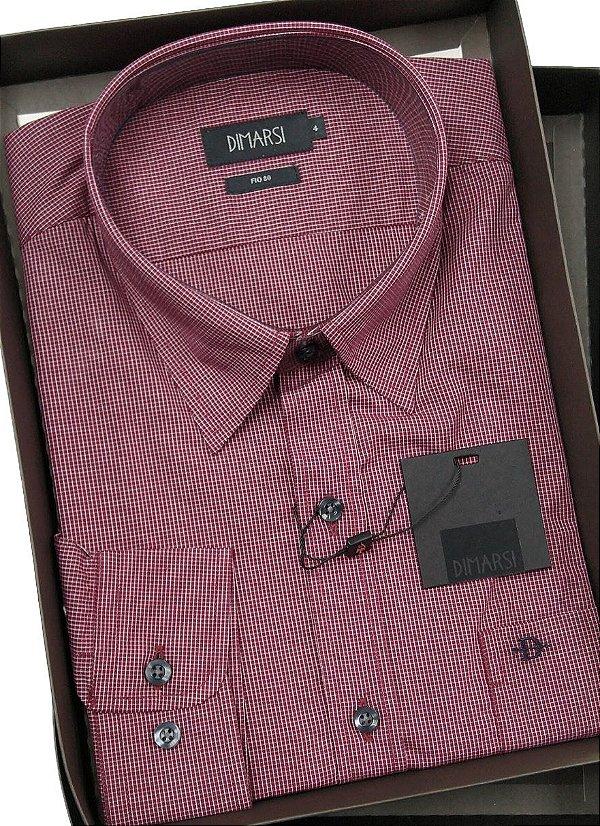 Camisa Dimarsi Com Bolso - Manga Longa  - Fio 80 - 100% Algodão - Ref. 8660VH - Xadrez
