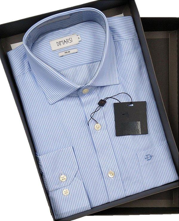 Camisa Dimarsi Com Bolso - Manga Longa  - Fio 80 - 100% Algodão - Ref. 8624 AZ