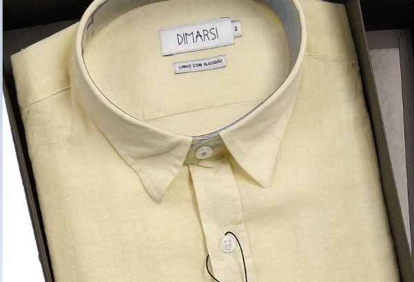 Camisa Dimarsi - Com Bolso - Manga Curta - Linho / Algodão - Ref. 0967 Amarela