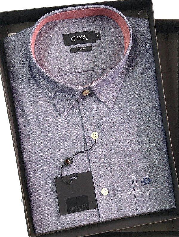 Camisa Dimarsi Slim Fit - Com Bolso - Manga Curta - 100% Algodão - Ref. 7845az