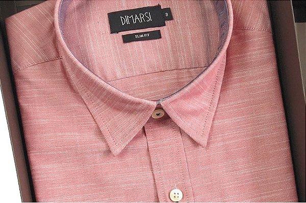 Camisa Dimarsi Slim Fit - Com Bolso - Manga Curta - 100% Algodão - Ref. 7845vh